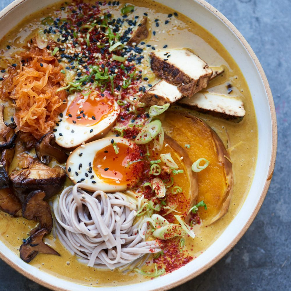 Gizzi Erskine's Curry soy miso ramen with roast butternut squash