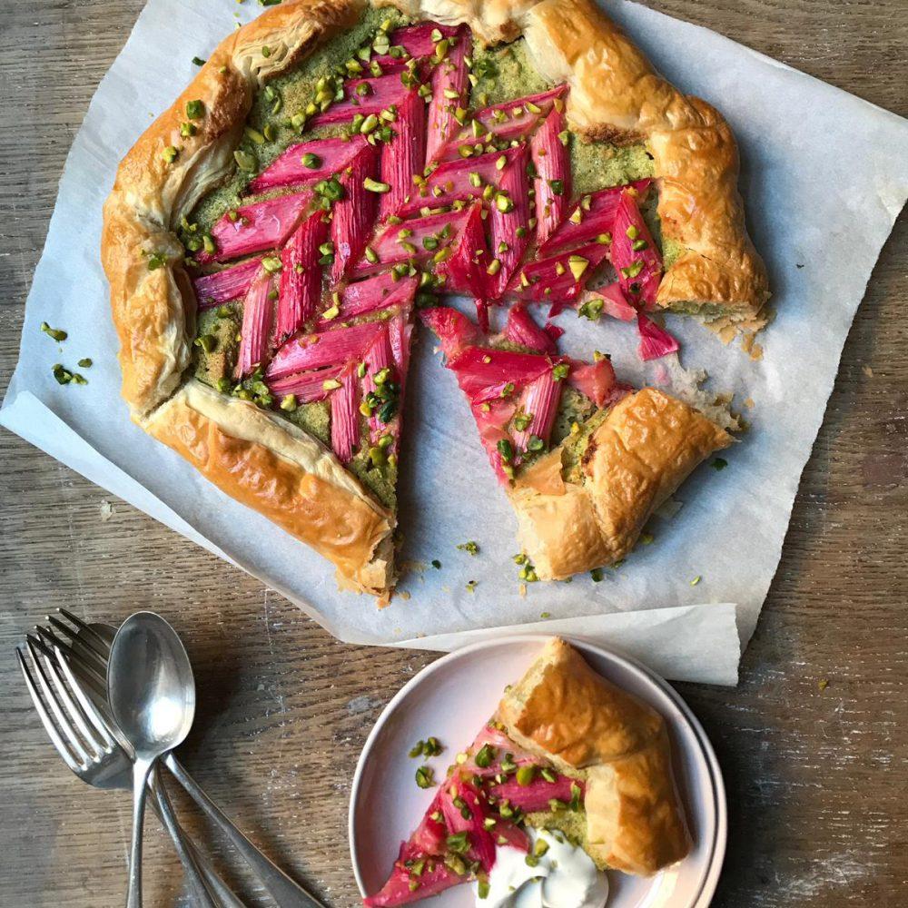 Emily Jonzen's Rhubarb, Cardamom & Pistachio Galette