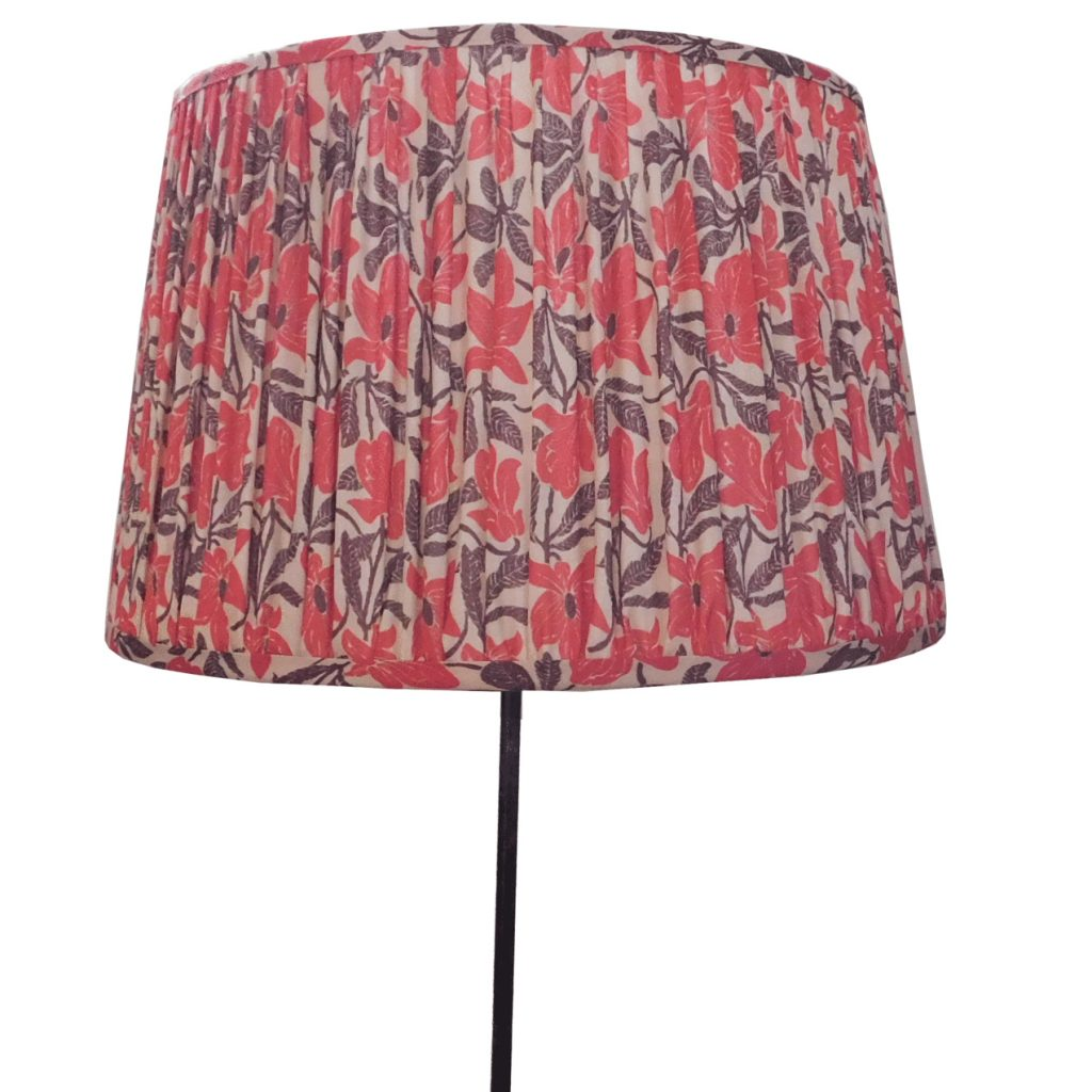 Gathered red floral lampshade, £105, Host