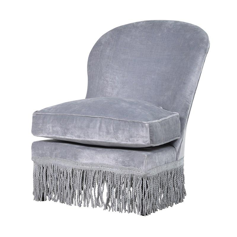Silver velvet fringed chair, £389, homelia.com