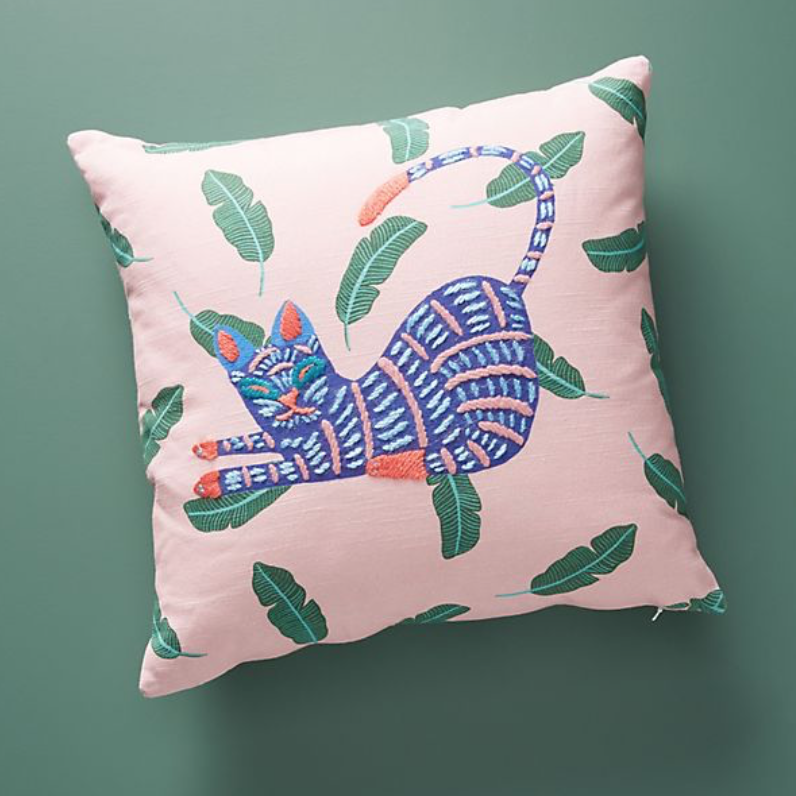 Embroidered cushion, £58, Anthropologie