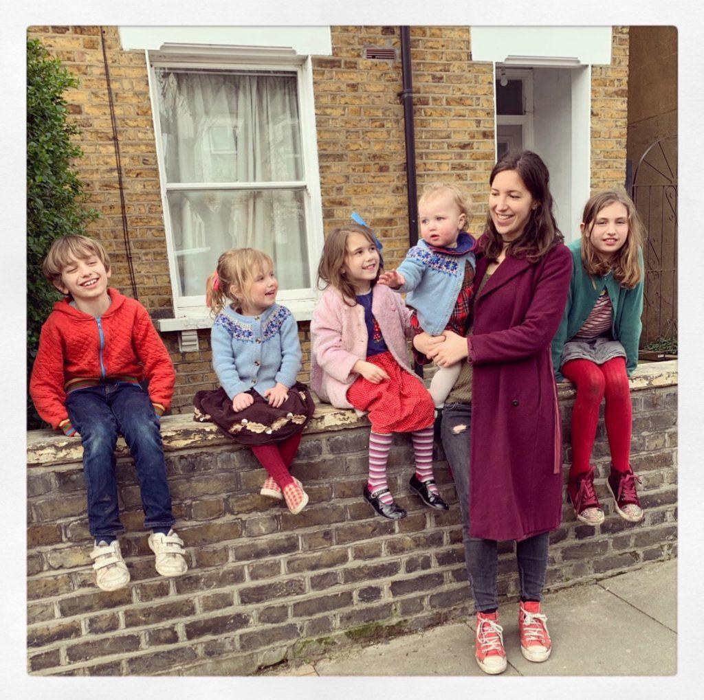 Victoria Roper-Curzon and children outside