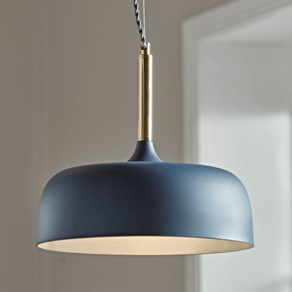 Blue and brass pendant light, £95, Cox and Cox
