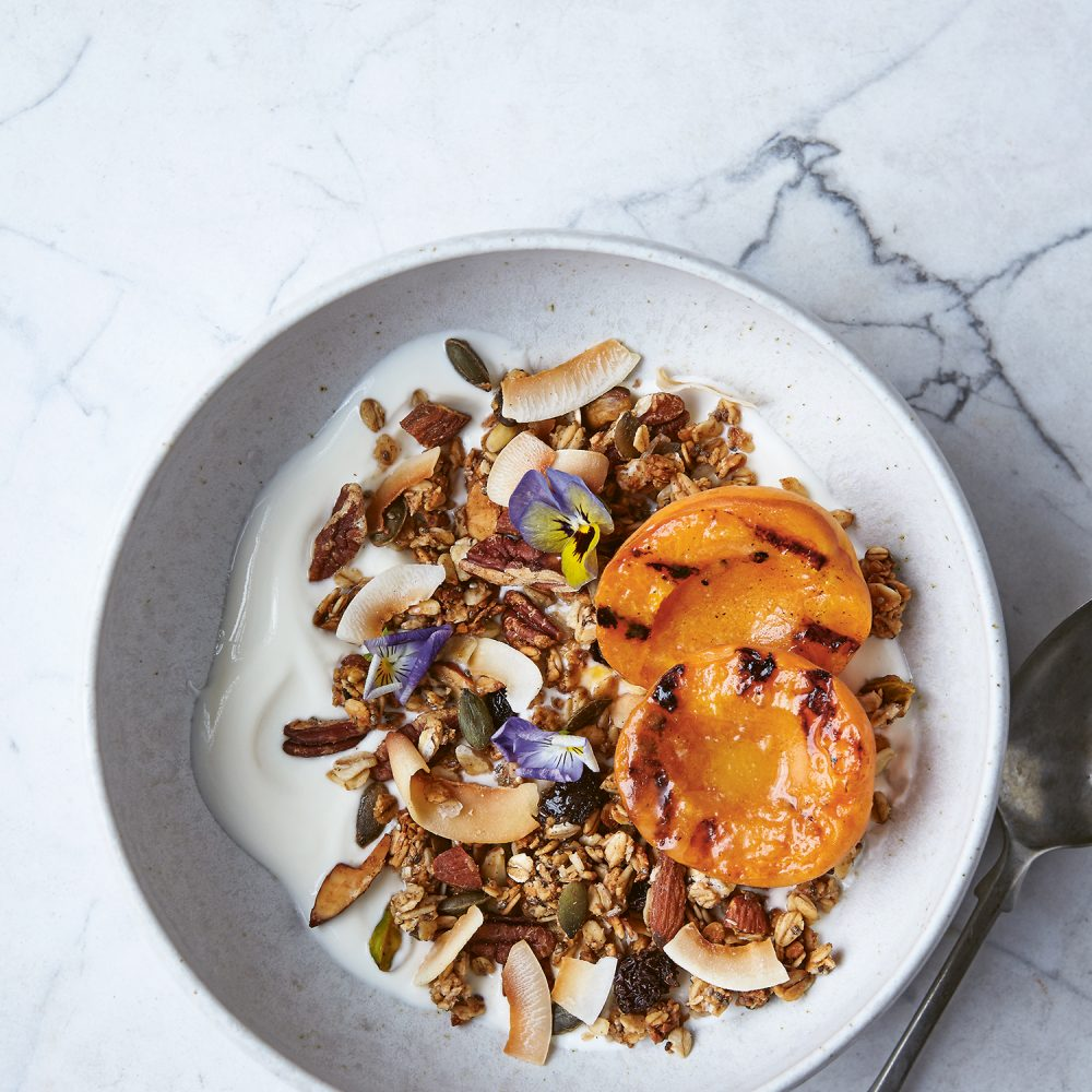 Coconut Jumbo Oat Granola with Charred Stone Fruit