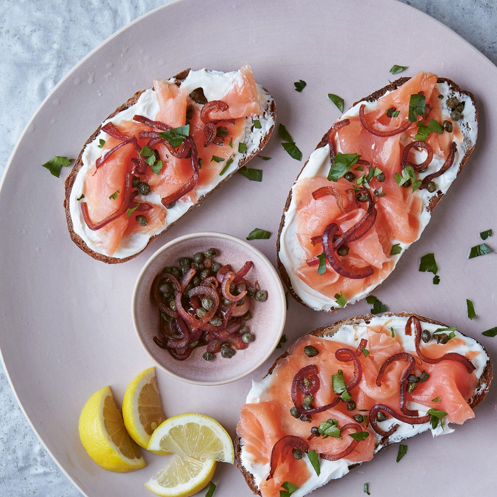 Smoked Fish Tartine with Charred Caper and Red Onion Relish