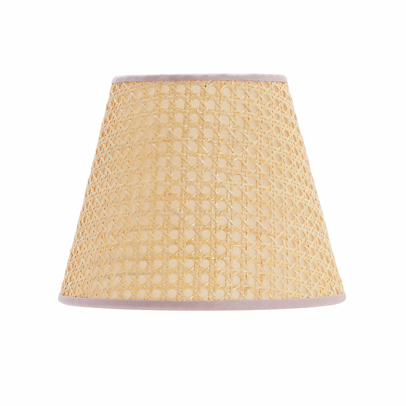 Cane lampshade with pink trim, small, £155, Matilda Goad