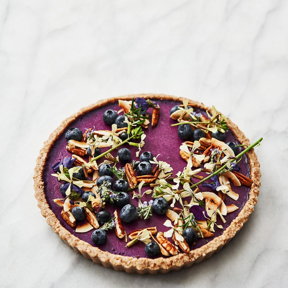 Raw Blueberry, Lavender and Coconut Cream Flan