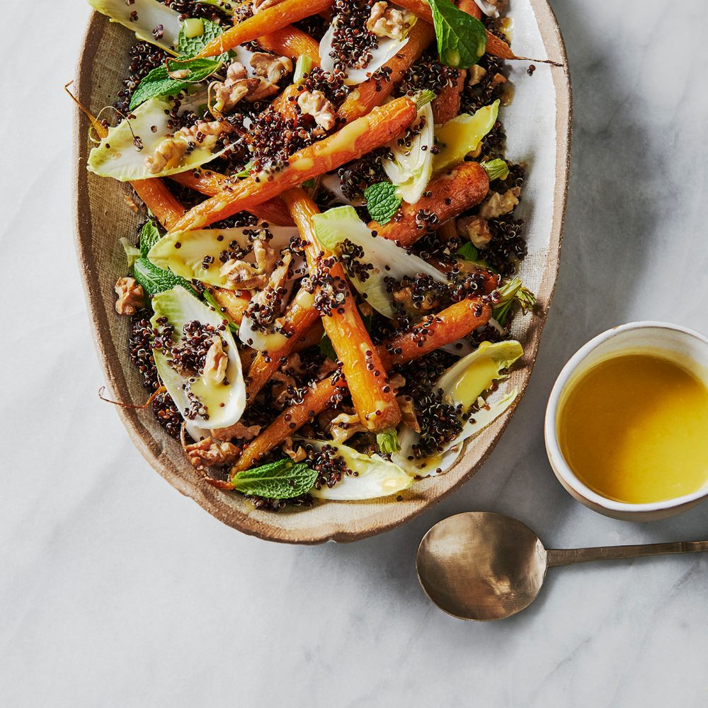 Roasted Carrot, Witlof and Toasted Walnut Salad with Orange and Umeboshi Dressing