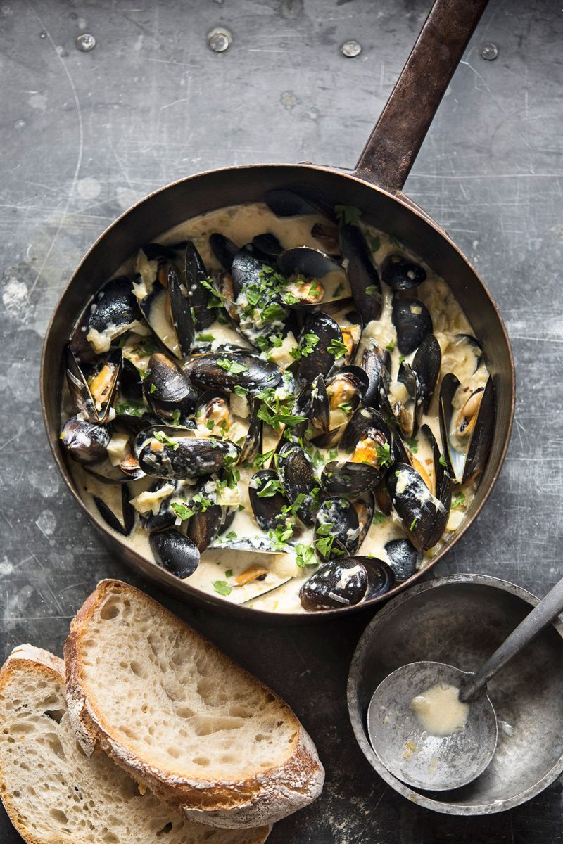 Creamy Cider and Mussel Broth