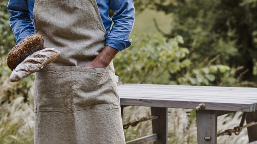 Leather Strap Linen Apron, Rowen & Wren