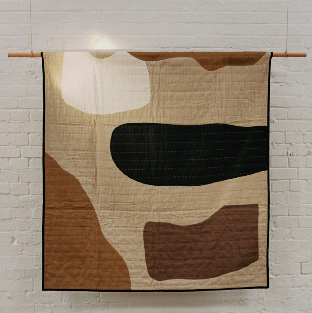 House of Quimm hand stitched quilt with 100% recycled wadding, £665, Toast