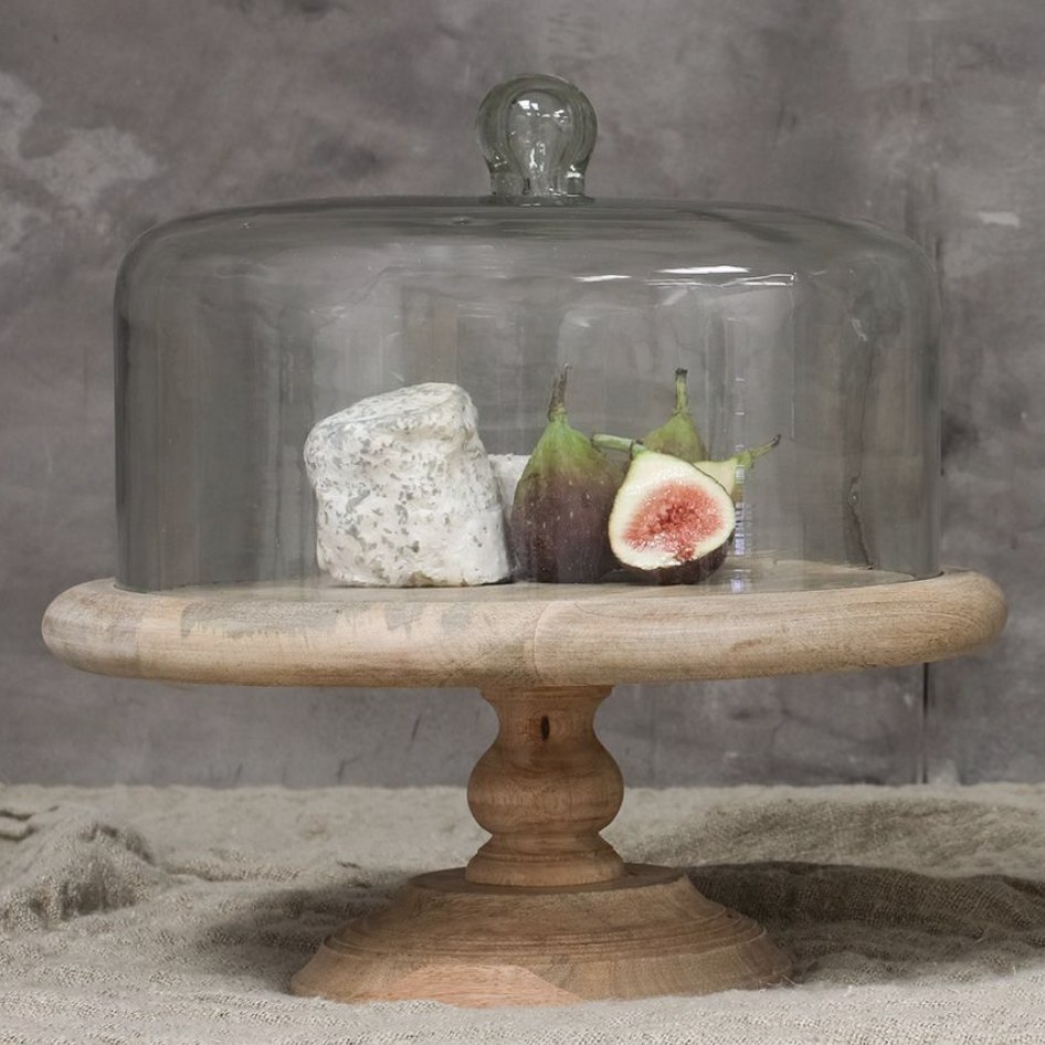 Recycled glass dome cake stand, £79.95, Nkuku
