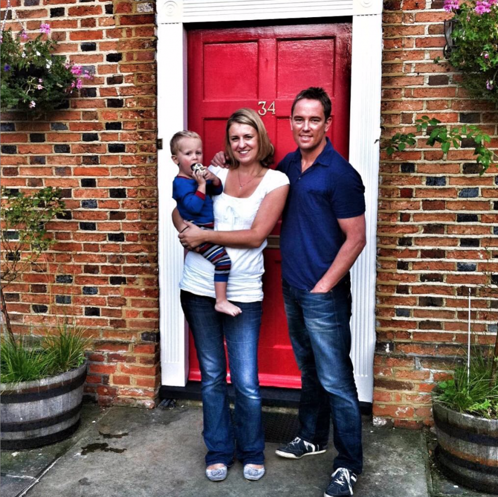 Simon Thomas, with Gemma and Ethan on front door step
