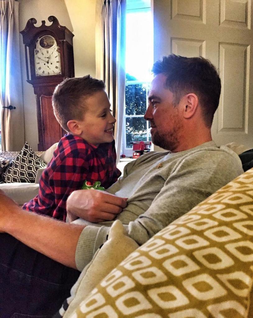 Simon Thomas with son Ethan at home