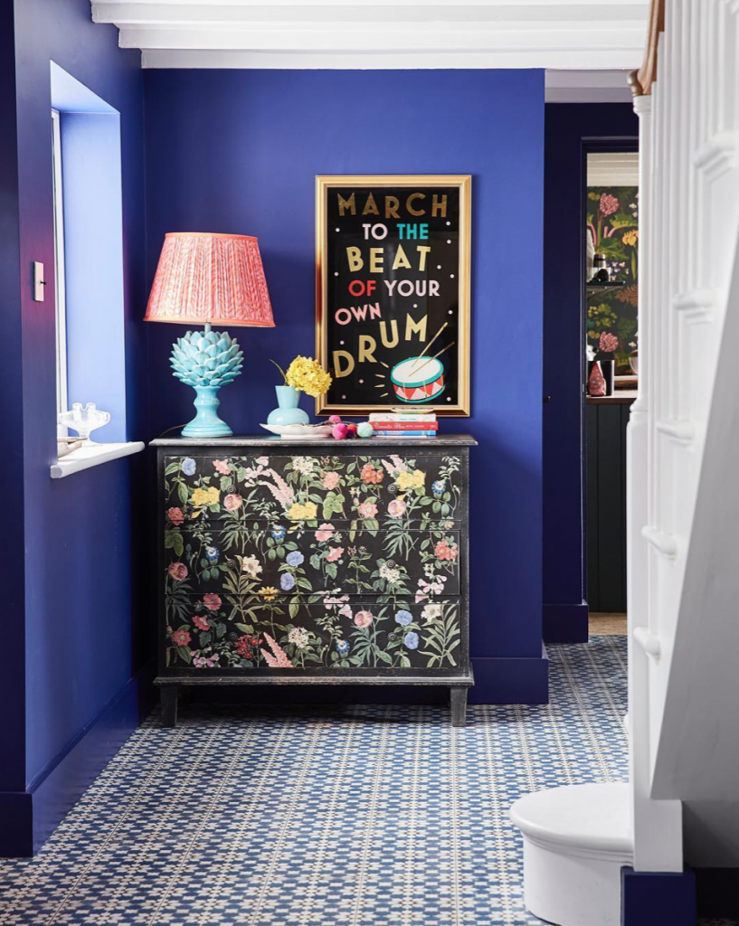 Sophie Robinson, blue hallway and painted cabinet