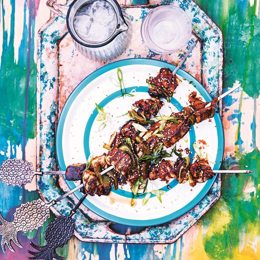 David & Charlotte Bailey's Miso-Glazed Aubergine, Shiitake & Smoked Tofu Skewers