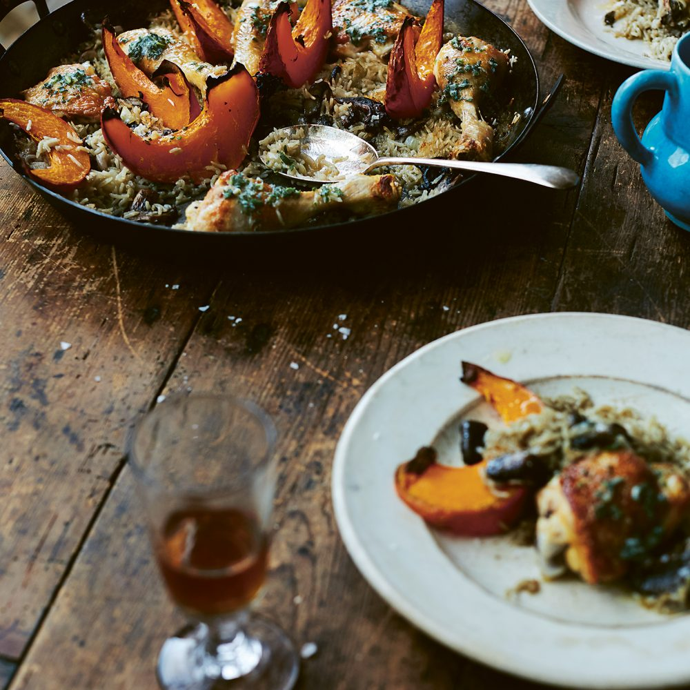Diana Henry's Chicken with Wild Mushrooms, Pumpkin, Rice & Sage Butter