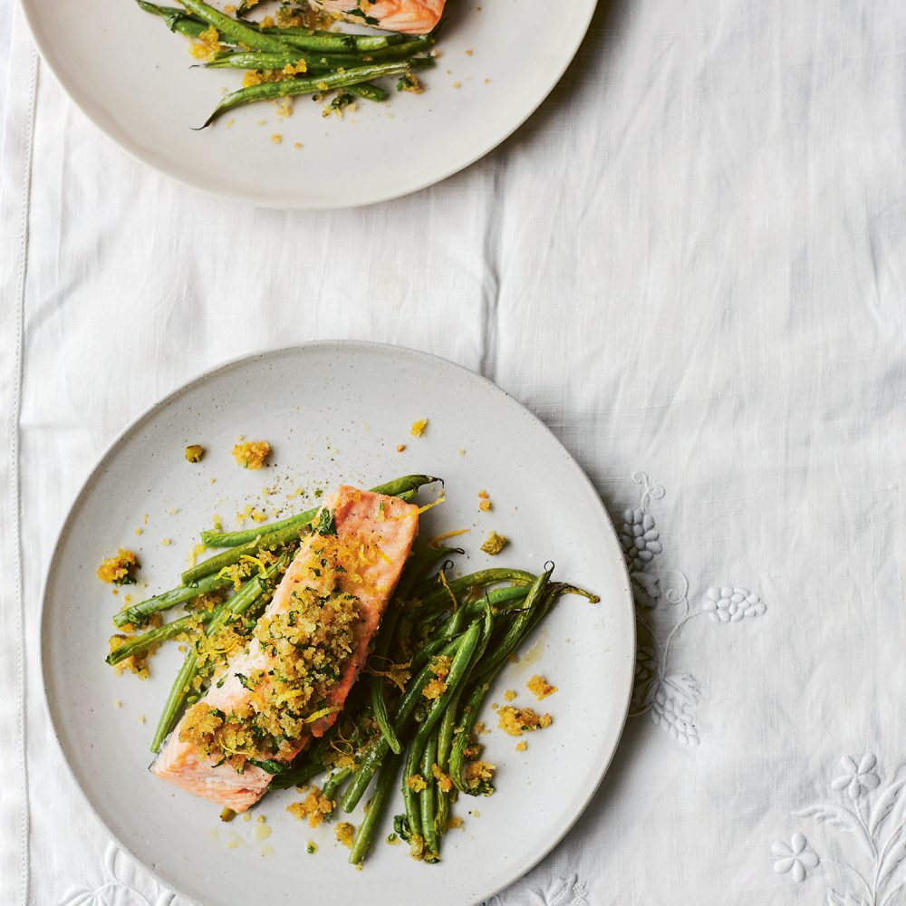 Diana Henry's Roast Salmon & Green Beans with Cornichons & Mustard Crumbs