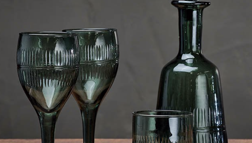 Mila glassware in dark emerald, Nkuku