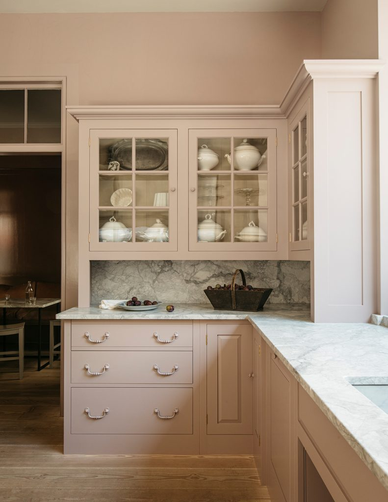 Plain English Marylebone showroom painted in Silver Polish from Rita Konig's paint collection