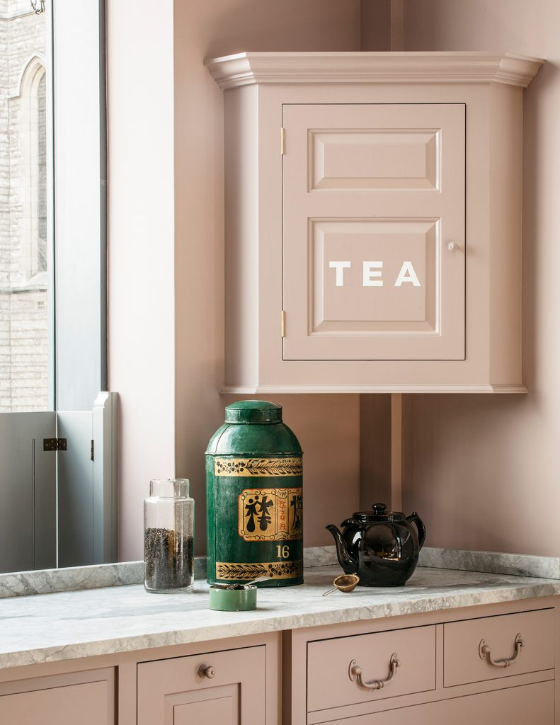 Tea cupboard in Plain English Marylebone showroom painted in Silver Polish from Rita Konig's paint collection