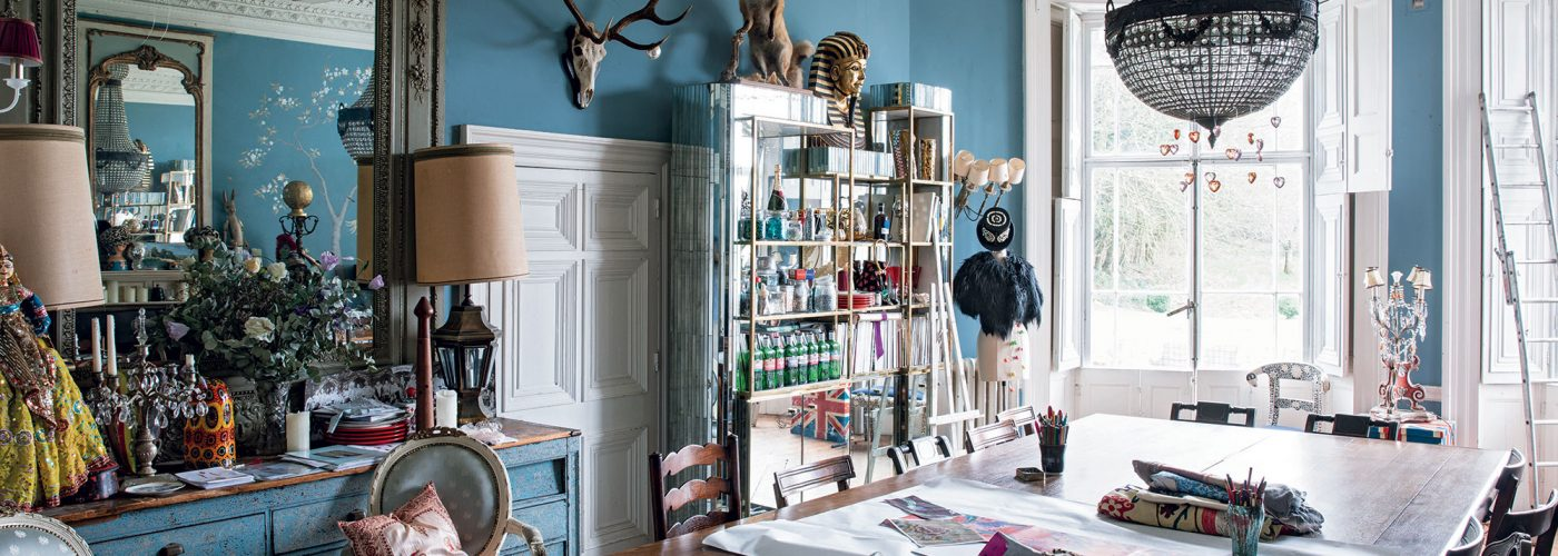 Alice Temperley's blue dining room which doubles as a study in her Somerset home