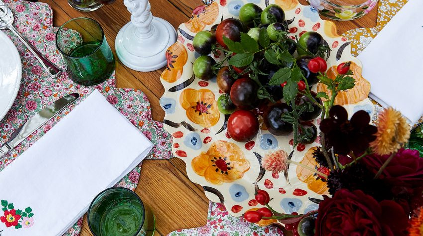 Table shot from above showing items from the floral-inspired Floribunda collection of homeware exclusive to Liberty