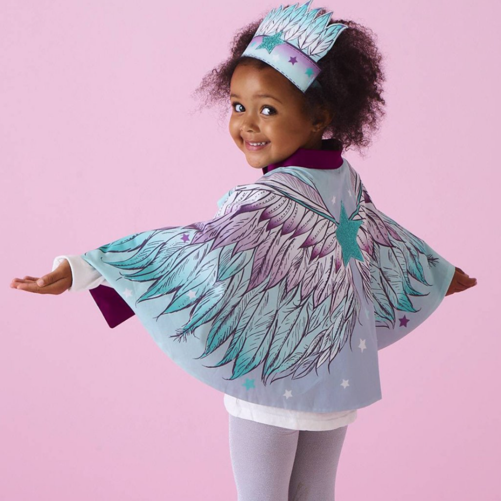 Angel wings cape and crown play set, £35, Wild Things