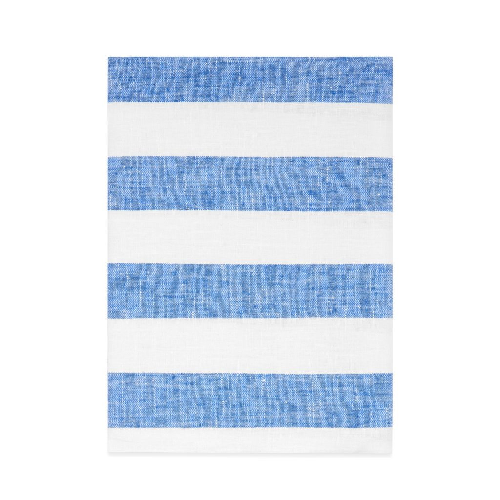 Blue stripe linen bath towel, £26, Host