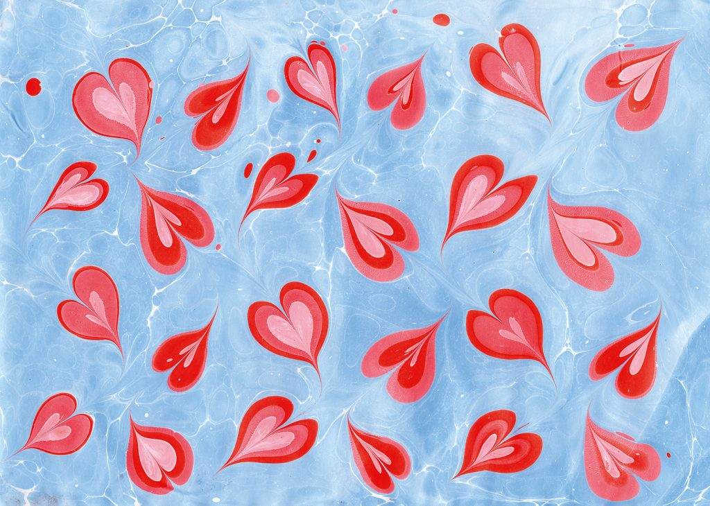 Lucy McGrath Marmor Papierie Contemporary Paper Marbling hearts