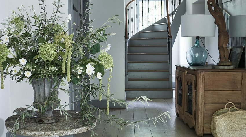 Chief Creative Officer of The White Company Mark Winstanley's hallway 'For the Love of White' by Chrissie Rucker © Chris Everard
