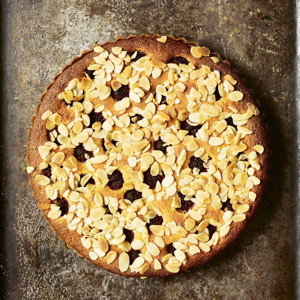 Raspberry and Almond Tart, Crème Fraîche