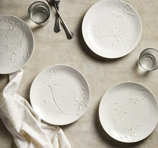 Embossed leaf Plate, set of 4, £45, The White Company