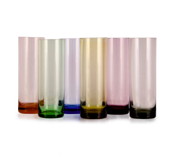 Set of six colourful vintage highball glasses, Ceraudo, £65