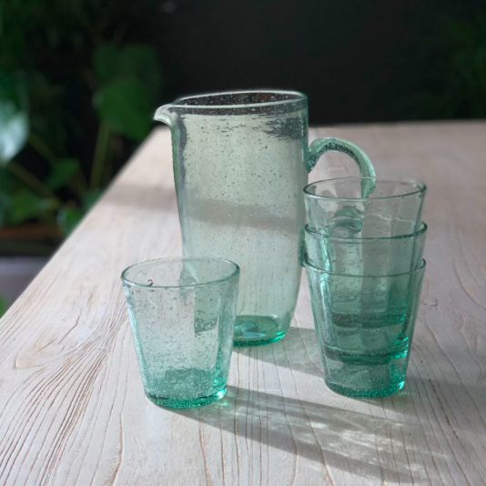 Green glass water jug and drinking glasses, £8 - £30, Home Barn