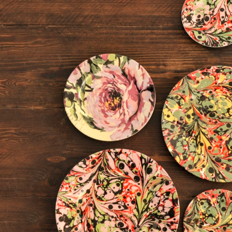 Bone China Floral and Marbled Plates, from £14, RE