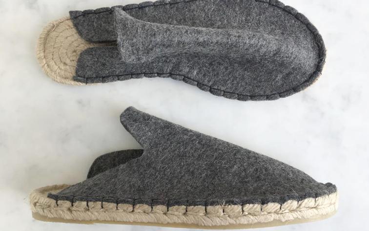 Wool felt espadrille slippers, £75, Aerende