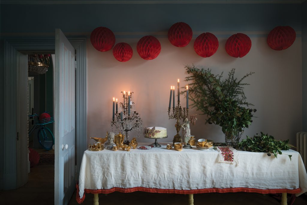 Farrow & Ball Christmas table pom poms landscape