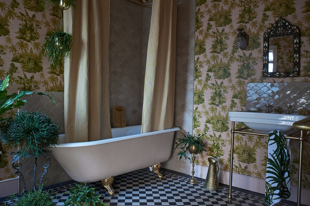 House of Hackney upstairs bathroom landscape
