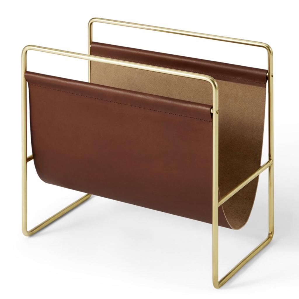 Kyri Leather and Brass Magazine Rack, £79, Made