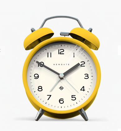 Newgate Clocks Charlie Twin Bell Echo Alarm Clock, Matte Yellow, £22, John Lewis