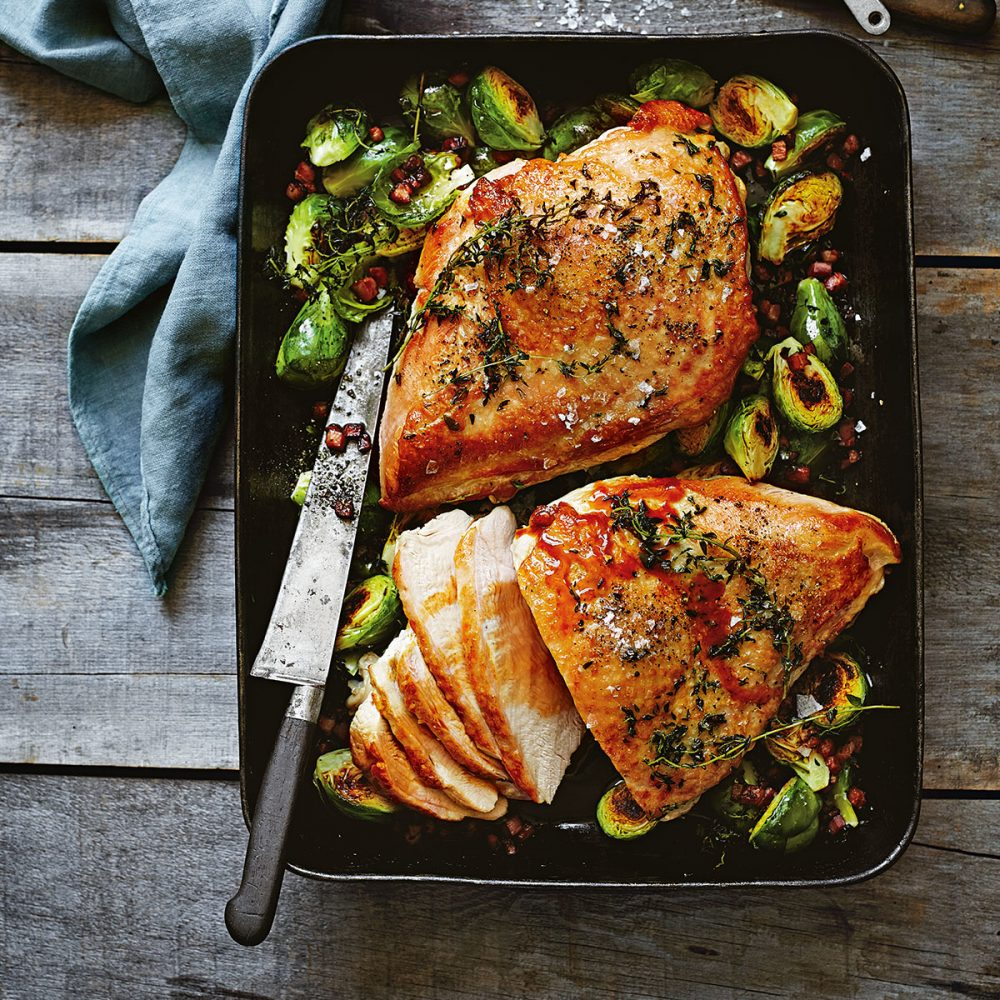Donna Hay's Prosecco Brined Turkey Breast with Brussels Sprouts and Speck
