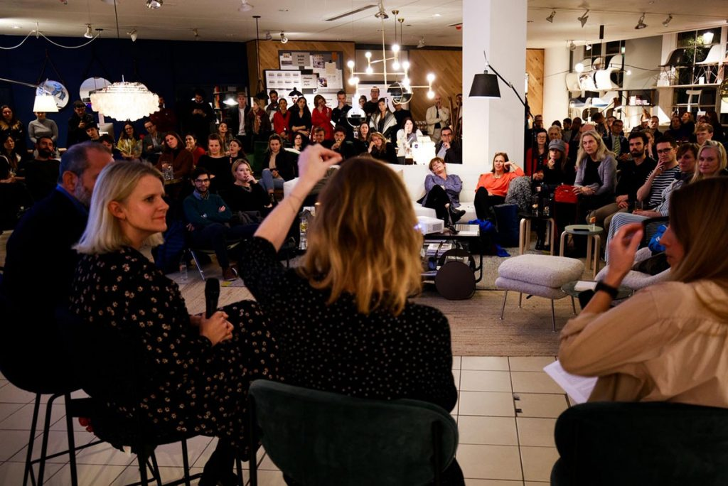 Rosalind Sack and Jessica Jonzen speaking on the panel at the Dark Is The Night event at The Conran Shop, London, October 2019 - audience shot