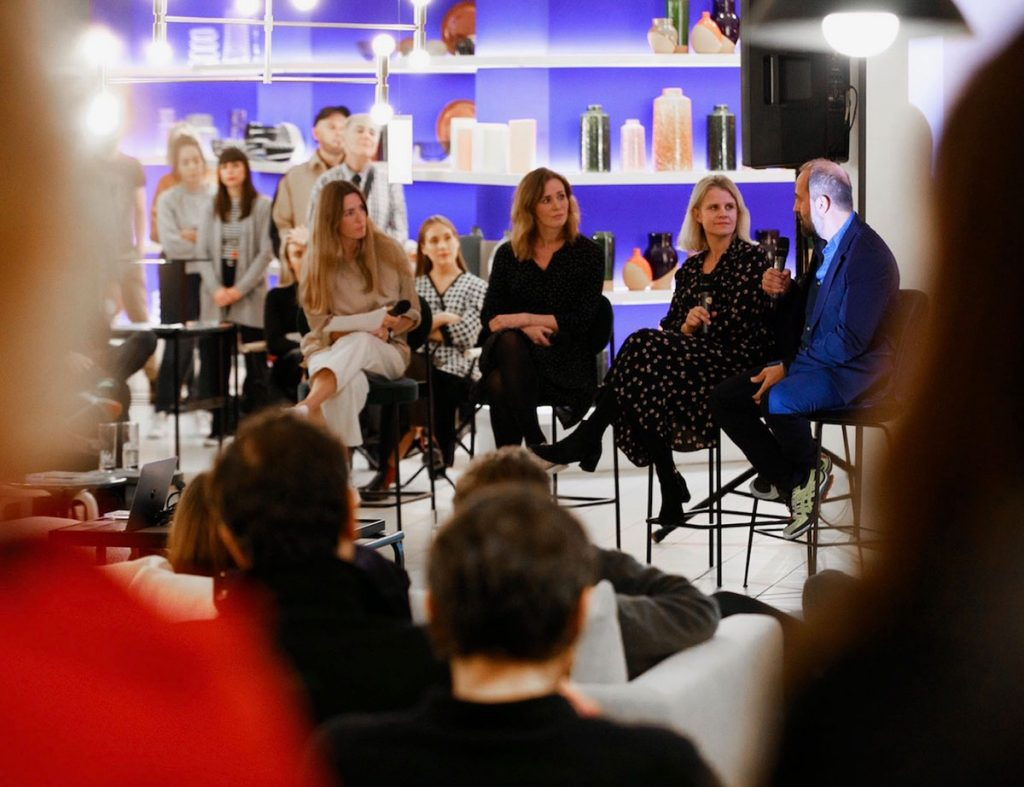 Rosalind Sack and Jessica Jonzen speaking on the panel at the Dark Is The Night event at The Conran Shop, London, October 2019
