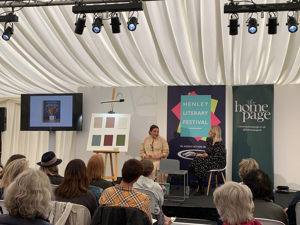 Jessica Jonzen from The Home Page interviewing Farrow and Ball's Colour Curator Joa Studholme at the The Henley Literary Festival 2019