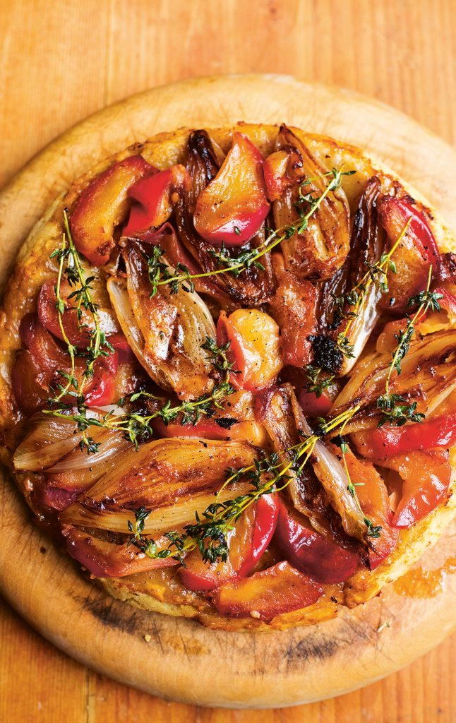 Nigel Slater Shallot, Apples, Parmesan Tart, Greenfeast: autumn, winter © Jonathan Lovekin