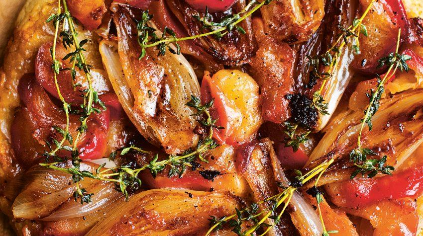 Nigel Slater Shallot, Apples, Parmesan Tart, Greenfeast: autumn, winter © Jonathan Lovekin