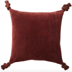 Oka Plain Velvet Tasselled Cushion Cover - Walnut