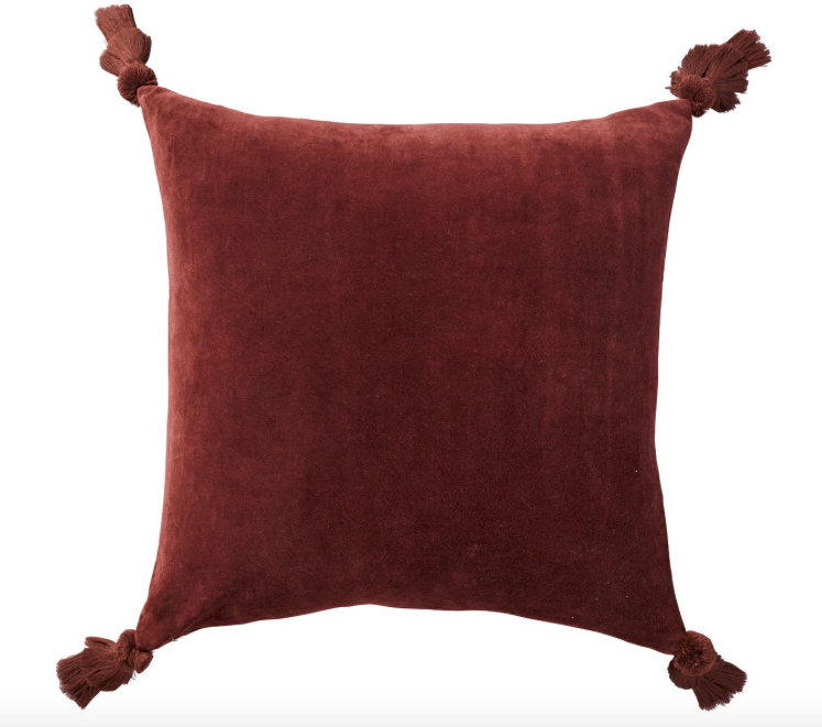 Oka Plain Velvet Tasselled Cushion Cover - Walnut