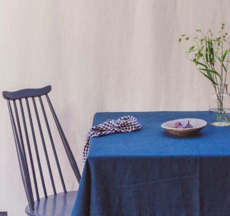Washed linen table cloth, navy, The Small Home